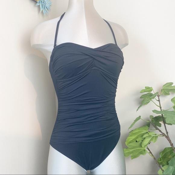 Vtg 80s La Blanca Black Cut Out Mesh One Piece Swimsuit Small